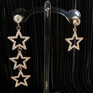 Rhinestone star shaped stud drop earrings in gold